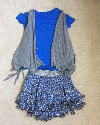 Girls JUSTICE Blue Floral Skirt Top and Vest Outfit Size Large