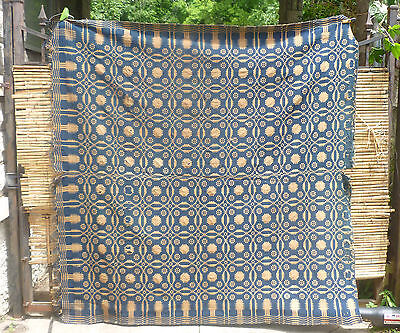 antique Hand Loom Woven BLUE & MANILA JACQUARD COVERLET 82x80 Heavy
