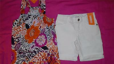 NEW Girls Size 6 Gymboree Outfit White Bermuda Shorts & Floral Shirt RP $46 NWT