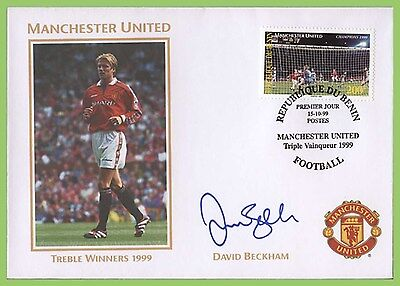 Benin 1999 Manchester United Triple Winners, David Beckham auto pen signed