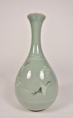 "Vintage FLYING CRANE Korean 7"" Celadon Green Signed Ceramic Vase"