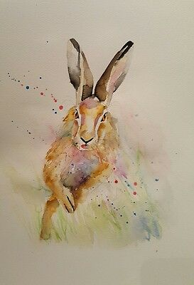 """ELLE SMITH ART. ORIGINAL SIGNED LARGE WATERCOLOUR PAINTING.16x12"""" """"RUNNING HARE"""""""