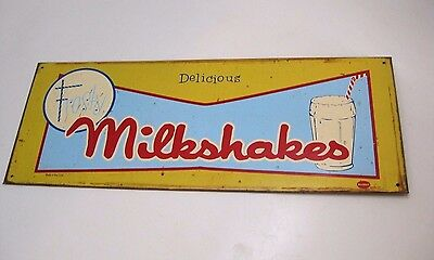"""Rare Vintage 1950s """"Delicious FROSTY Milkshakes"""" Yellow Metal Sign by Mummerl Co"""
