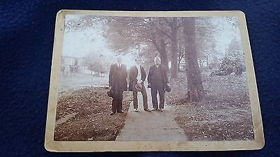 Vintage Photo of 3 Men on a Sidewalk 7 1/4 x 5 1/4