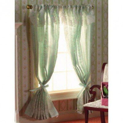 Dolls House Miniature 1:12th Scale Turquoise Curtains On Rail