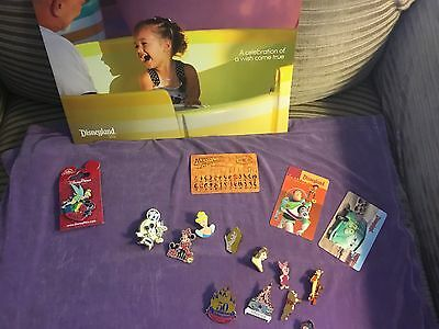 DIsney pins lot of 12,  3 cards, 1 brochure
