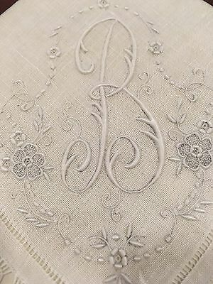 Framed Lace Initial B Linen Hand Sewn Antique White Linen