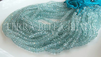"13"" strand AAA AQUAMARINE faceted gem stone rondelle beads 4.5mm - 5.5mm blue"