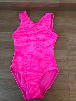 BRAND NEW  girls dance/ gymnastic leotard pink velvet  dancewear/disco/gym