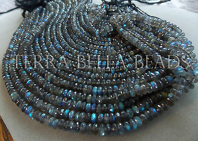 "12.5"" strand AAA SPECTROLITE LABRADORITE faceted rondelle gem stone beads 6mm"