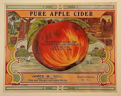 Vintage James W. Noll Apple Cider Label Martinsburg WV ORIGINAL UNUSED