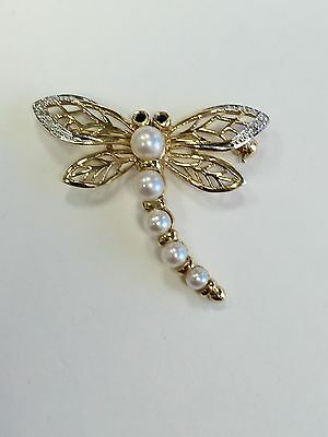 Genuine Pearls Sapphires & Diamonds 14K Yellow Gold Dragonfly Brooch Pin Vintage