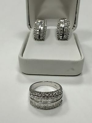 2.64 ctw Clean Diamonds Heavy 18k White Gold Huggie Earrings & Ring Matching Set