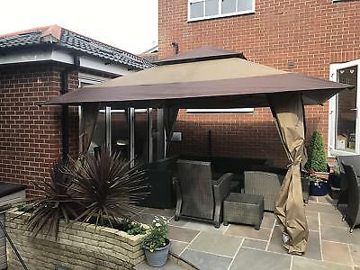 Huge 4m x 4m Gazebo Pop Up By Norfolk Leisure With Carry Bag On Wheels Brown