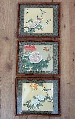 Three Chinese Vintage Framed GongBi Painting On Silk
