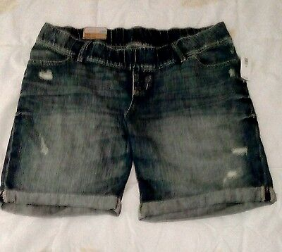 Old Navy Maternity Bermuda Jean Shorts  Woven Waistband Nwt Size 10 Distressed