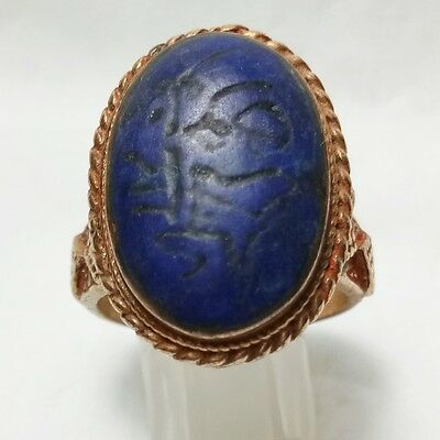 Rare Old Anceint Medieval Gold Plate Lapis Stone Ring Wonder