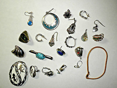 Sterling Silver Lot- All wearable - Single earrings- Not weighed