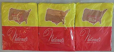 VINTAGE NATIONALS 3 Pair Seamless Nylon Garter Stockings Size 10 Made in USA!