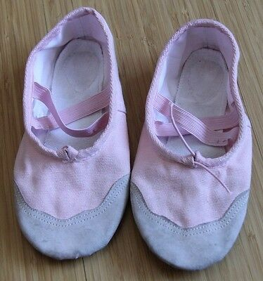 Youth Girl Pink Split-Sole Canvas Fabric Ballet Shoes Sz 30