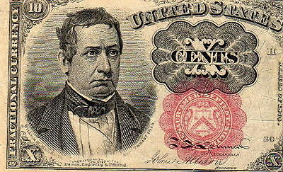 Us Ten Cent Paper Note Fractional Currency Series Of 1874