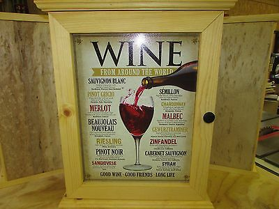 Wine From Around The World – Handcrafted - Tin Sign Cabinet – Medicine, Spice, G