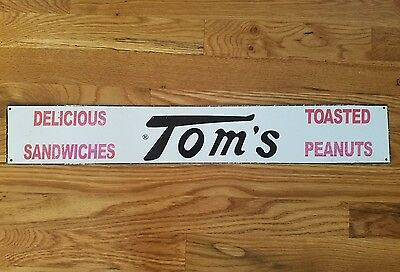 Tom's Toasted Peanuts Delicious Sandwiches Vending Machine metal sign