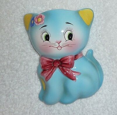 Vintage Norcrest Anthropomorphic PY Blue Aqua Cat Kitten Wall Pocket Planter