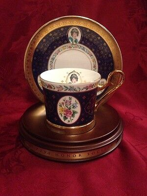1995 Avon Honor Society Cup & Saucer With Wood Display Stand.