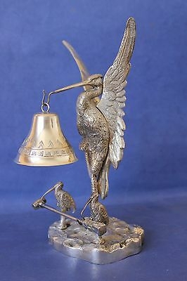 Antique  Unusual Silver plated Heron, Stork Dinner Bell. Signed.