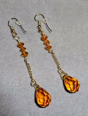 "Antique Outstanding Czech Amber Color Crystal Briolette Dangle Earrings~3"" Long"