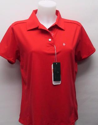 New Ladies Red Green Lamb Nylon Spandex short sleeve golf polo shirt Large