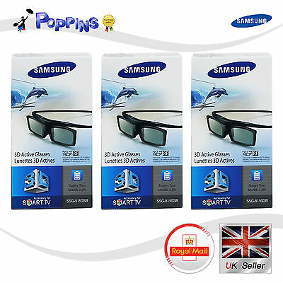 3 X New Samsung 3D TV Glasses SSG-5150GB For All D, E, EH, ES, F , H Series