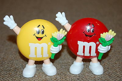 """2~Vintage M&M'S 3"""" DISPENSERS W/ SPRING FLOWERS, TULIPS  M&MS Chocolate Candy"""