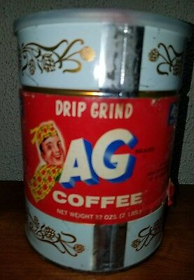 L@@K  AG BRAND Coffee Can Full Of COFFEE SEALED 32oz (2lbs) VINTAGE paper label