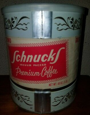 L@@K  VINTAGE Schnucks BRAND Coffee Can COFFEE SEALED 48oz (3lbs)  paper label