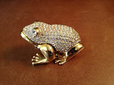 Frog Gold Metal Faceted Crystal Hinged Trinket Box