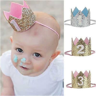 1st Birthday Crown Mini Glitter Crown Flower Headband Birthday Party Photo Prop