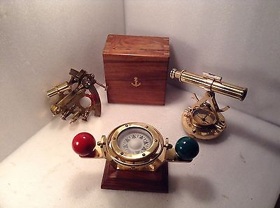 Set Of Three Brass Nautical Instruments Sextant, Astrolabe & Ship's Compass