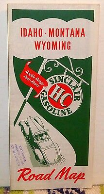Vintage Sinclair Gasoline Road Map Idaho Montana Wyoming 1930s-40s Rotolo Oil