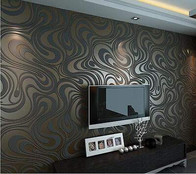 3D Abstract Curve Luxury Flocking Striped Wallpaper Black&Brown 0.7m*8.4m=5.88m2