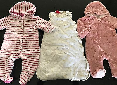 3 X Pumpkin Patch Baby Girl Size 0 All In One Winter Furry And Sleeping Bag