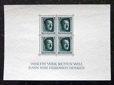 Bloc Of 4 Authentics Wwii Third Reich Hitler Head Issues Stamps 1937 Mnh.