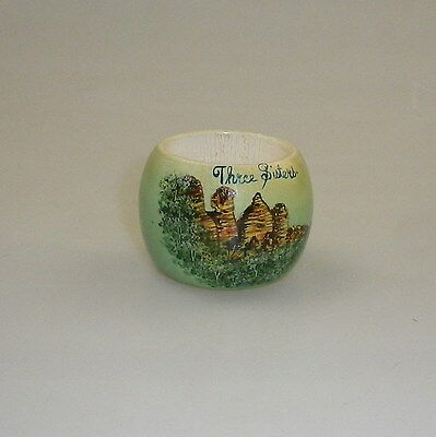 Pokerwork Napkin Ring Decorated With Three Sisters