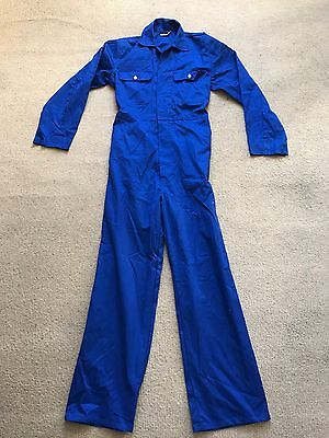 Vtg Blue cotton coveralls jump boiler suit work chore pants overalls 38