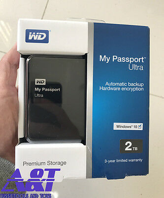 "WD My Passport Ultra Portable 2.5"" 2TB External USB 3.0 HDD - BLACK NEW INBOX"