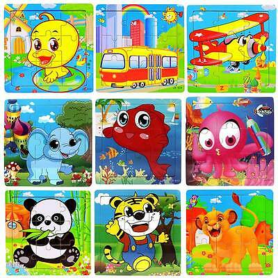 Animals Cartoon  Wooden Puzzles Children Kids Learning Educational Jigsaw Toys