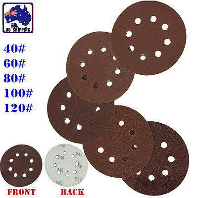 10x Sanding Sandpaper 8 Bore 125mm Hook Loop Disc 40 60 80 100 120 Grit TPOL671