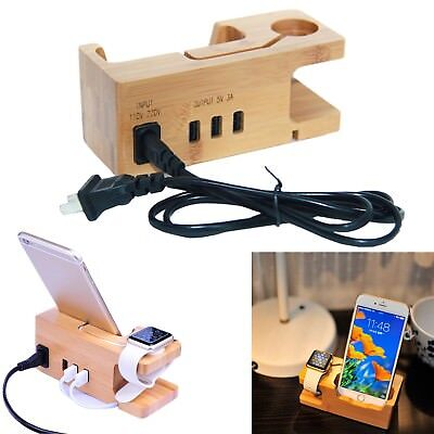 Bamboo Charging Dock Station iWatch Charger Holder Stand For Apple Watch iPhone