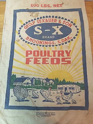 Vintage S-X Poultry Feeds Cloth Feed Sack Bag Chase Bag Co. St Paul